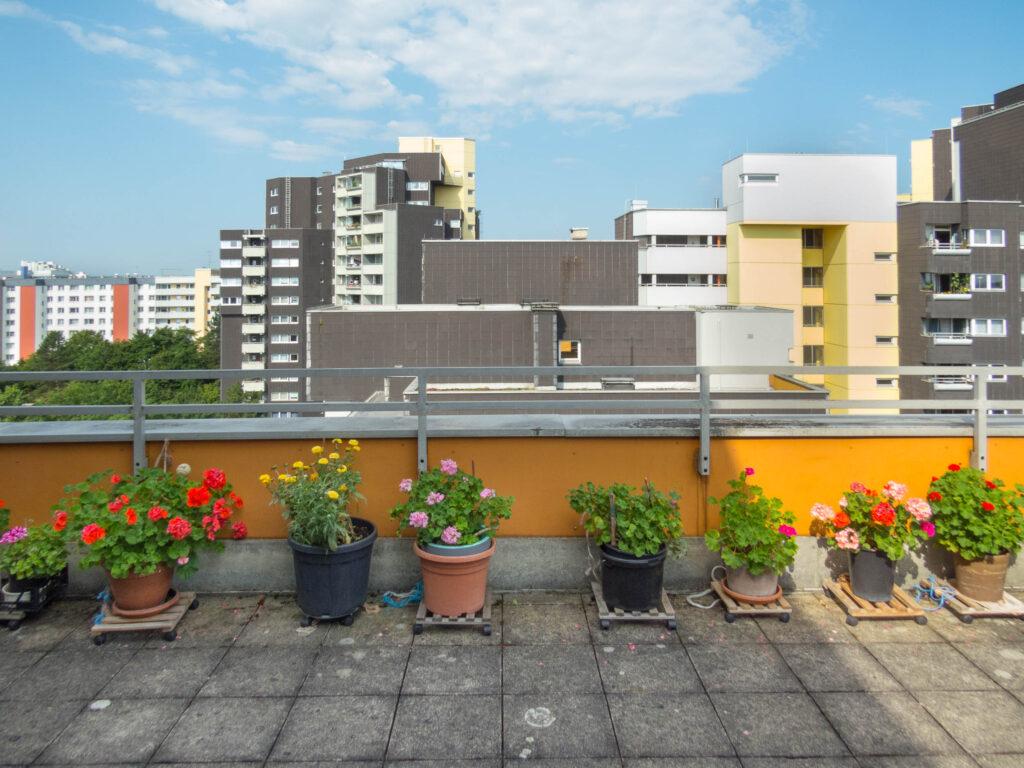 Dachterrasse Haus 58 während Großsanierung Karl-Marx-Ring 52-62