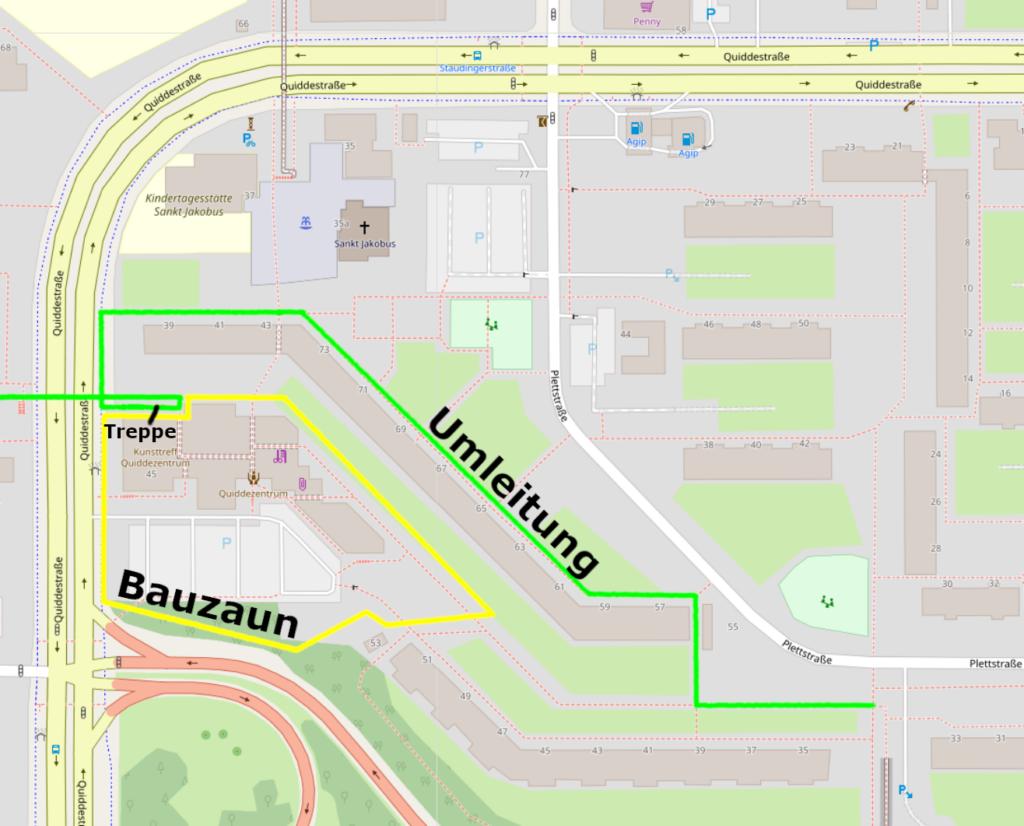 Map Umleitung Quidde-Zentrum 2021